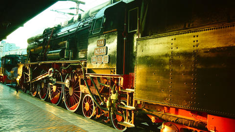 Tourists Looking At Historic Railroad Steam Engine Footage
