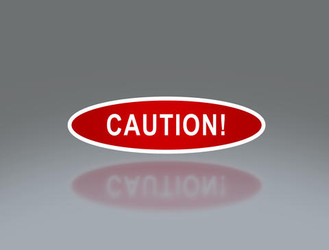 oval signage of caution 4 K Animation