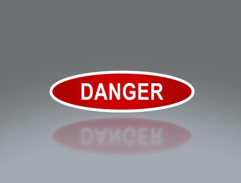 oval signage of danger 4 K Animation