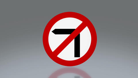 road sign no turn left Animation