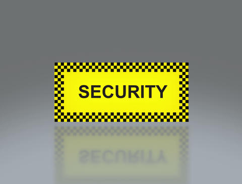 yellow Security signage 4 K Animation