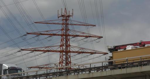 4K, Power Poles And Trucks on a Bridge Footage