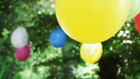 Birthday party with colourful balloons Footage