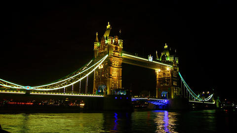Rush hour in London, view to the Tower Bridge nigh Stock Video Footage