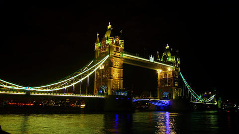 Rush hour in London, view to the Tower Bridge nigh Footage