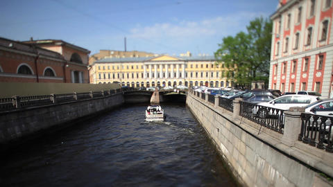 travel on canals of St. Petersburg time Lapse Film Stock Video Footage