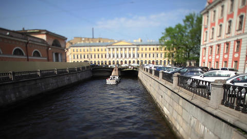 travel on canals of St. Petersburg time Lapse Film Footage