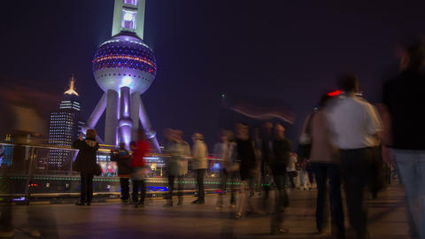 Shanghai night crowd timelapse Footage