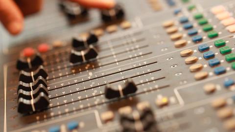 Mixing Board In Recording Studio stock footage