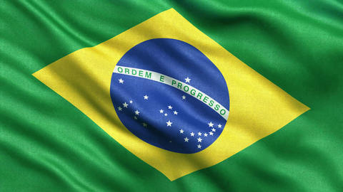 4K Flag of Brazil seamless loop Stock Video Footage
