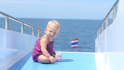 Baby Deck Ship Ocean Thai stock footage