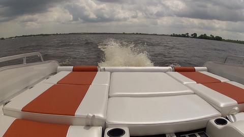 Rear area of pontoon navigating Footage