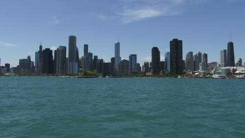 Chicago skyline seen from the lake Footage