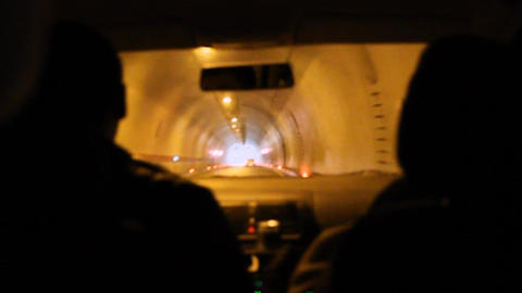 A car drive into tunnel Footage
