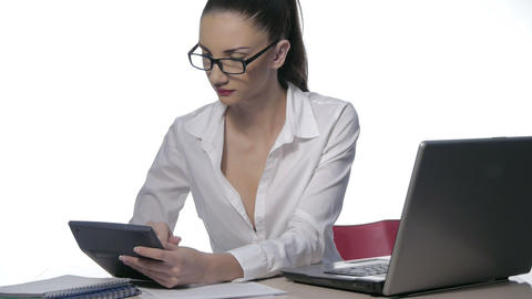Businesswoman working with laptop at the office Footage