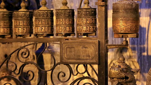 Buddhist prayer wheels. Swayambhunath Stupa, Kathm Stock Video Footage