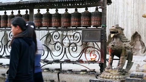 KATHMANDU, NEPAL - APRIL 5, 2014: Tourists walk an Footage
