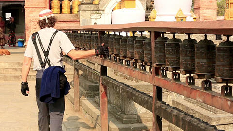 KATHMANDU, NEPAL - APRIL 5, 2014: Tourists walk an Stock Video Footage