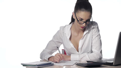 Businesswoman working with laptop at the office Stock Video Footage