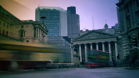 Rush hour in London, view to the Bank Stock Video Footage