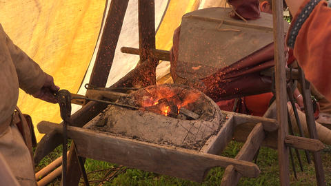 Smithy. Blacksmith's fur. 4K Footage