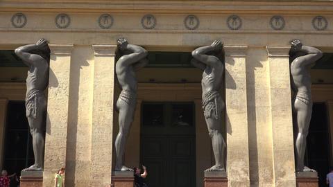 The Sculpture Of Atlantean. Saint-Petersburg. 4K Stock Video Footage
