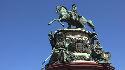 Monument to Emperor Nicholas I. St. Petersburg. 4K Stock Video Footage