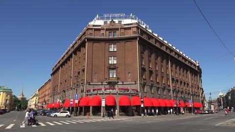 The Astoria Hotel. Saint-Petersburg. 4K Stock Video Footage