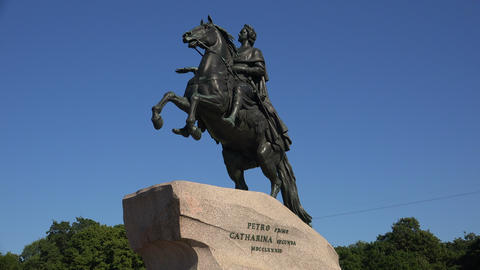 Monument to Peter I on the Senate square in St. Pe Footage