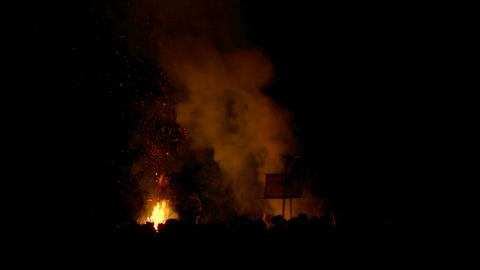 Beltane festival bonfire 04 Stock Video Footage