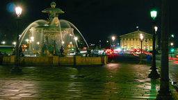 Fontaine de la Concorde at night,time lapse,4k to Stock Video Footage