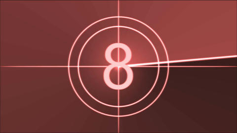 Movie Countdown Animation - Red Stock Video Footage
