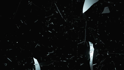 Demolished and Shattered glass with slow motion. A Stock Video Footage