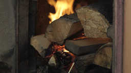 Firewood burning in a stove Stock Video Footage