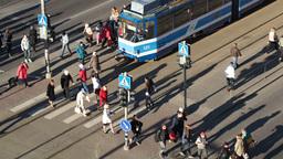 Crowd of people on zebra crossing in Tallin, europ Footage