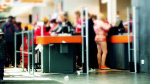Line at the cashdesks in the supermarket Stock Video Footage