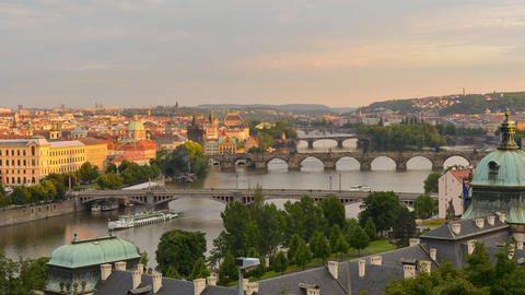 roofs and bridges of prague sundown time lapse 113 Footage