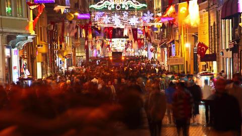 Istanbul Istiklal Street at Night. Timelapse 4K Footage