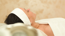 Massage therapy of womans face at beauty spa Stock Video Footage