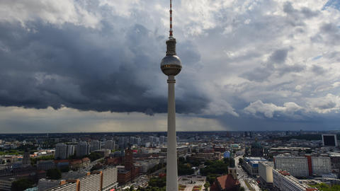 4k UHD berlin thunderstorm clouds tv tower 11384 Footage