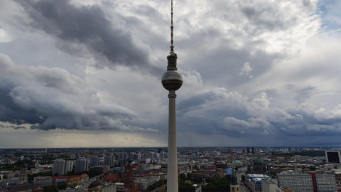 4k UHD berlin thunderstorm clouds tv tower 11384 Stock Video Footage