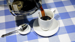 Pouring coffee in diver Stock Video Footage