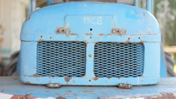 Back Engine Vent Blue Metal Rust 25fps stock footage