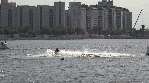 Aquabike. Bends at speed. 4K Footage