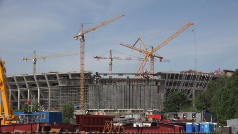 The construction of the stadium in St. Petersburg. Stock Video Footage