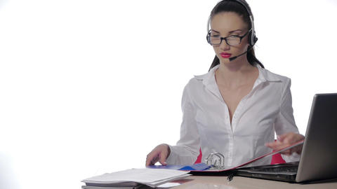 Businesswoman talking on the phone,operator Stock Video Footage