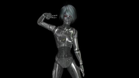 Animation of a dancing female Cyborg Animation
