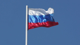 State flag of the Russian Federation is flying Footage