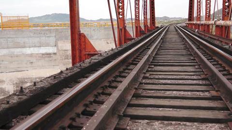 Train Bridge Pan Up Footage