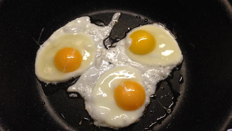 Sunny Side Eggs Frying In A Frying Pan stock footage